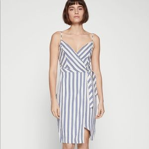 BCBGeneration Striped Wrap Dress Gardenia